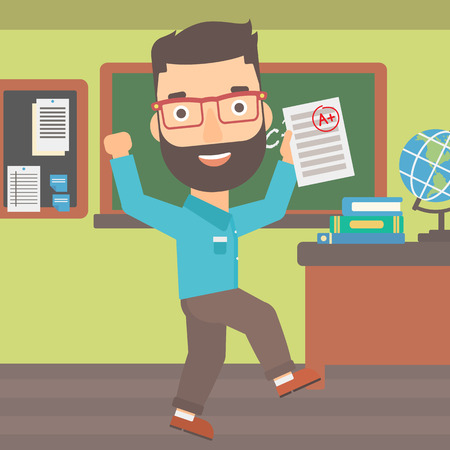 A hipster man with the beard holding a sheet with the highest mark on the background of classroom vector flat design illustration. Square layout. Illustration