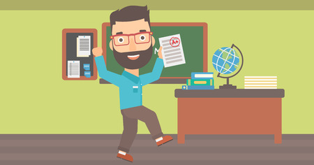 A hipster man with the beard holding a sheet with the highest mark on the background of classroom vector flat design illustration. Horizontal layout.
