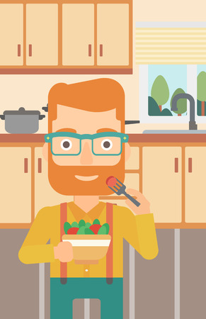 A hipster man with the beard eating salad on the background of kitchen vector flat design illustration. Vertical layout.