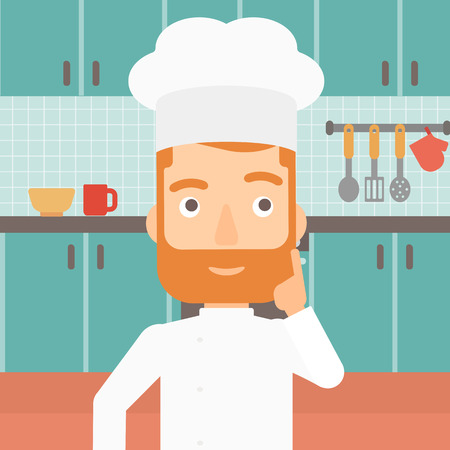 A cheerful chief-cooker in uniform pointing forefinger up on the background of kitchen vector flat design illustration. Square layout. Иллюстрация