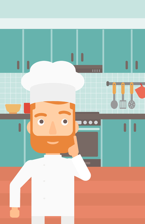 forefinger: A cheerful chief-cooker in uniform pointing forefinger up on the background of kitchen vector flat design illustration. Vertical layout.