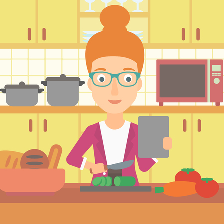 woman tablet: A woman holding a digital tablet and cutting vegetables on the background of kitchen vector flat design illustration. Square layout.