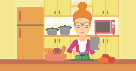 prepare: A woman holding a digital tablet and cutting vegetables on the background of kitchen vector flat design illustration. Horizontal layout.
