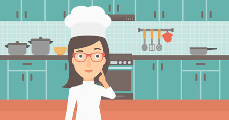 forefinger: A cheerful chief-cooker in uniform pointing forefinger up on the background of kitchen vector flat design illustration. Horizontal layout.