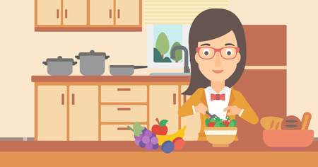 lunch room: A woman cooking vegetable salad on the background of kitchen vector flat design illustration. Horizontal layout. Illustration