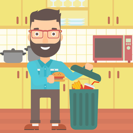 A hipster man with the beard putting junk food into a trash bin on the background of kitchen vector flat design illustration. Square layout.