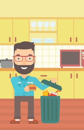 A hipster man with the beard putting junk food into a trash bin on the background of kitchen vector flat design illustration. Vertical layout.