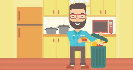 A hipster man with the beard putting junk food into a trash bin on the background of kitchen vector flat design illustration. Horizontal layout.
