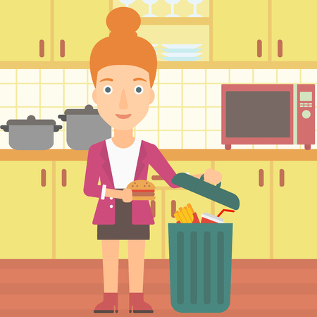 A woman putting junk food into a trash bin on the background of kitchen vector flat design illustration. Square layout.