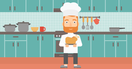 A chef holding a plate with a hot chicken on the background of kitchen vector flat design illustration. Horizontal layout.
