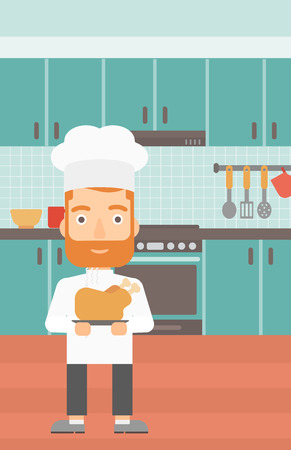 vapour: A chef holding a plate with a hot chicken on the background of kitchen vector flat design illustration. Vertical layout.