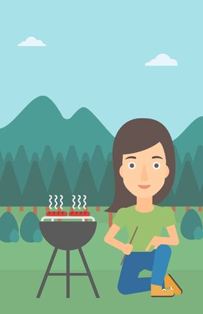 A woman sitting next to barbecue grill in the forest vector flat design illustration. Vertical layout.