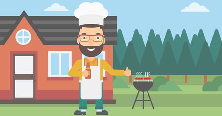 front yard: A hipster man with the beard standing next to barbecue grill in the yard in front of house and holding a bottle in hand and showing thumb up vector flat design illustration. Horizontal layout. Illustration