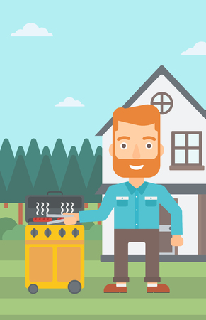 prepare: A hipster man with the beard preparing barbecue in the yard in front of house vector flat design illustration. Vertical layout.