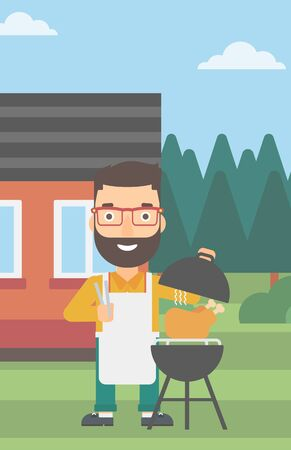 front yard: A hipster man with the beard cooking chicken on barbecue in the yard in front of house vector flat design illustration. Vertical layout. Illustration