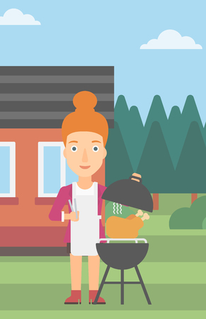 front yard: A woman cooking chicken on barbecue in the yard in front of house vector flat design illustration. Vertical layout.