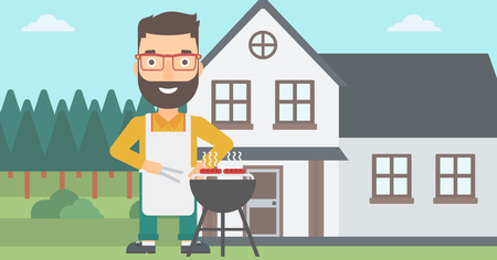 grilling: A hipster man with the beard preparing barbecue in the yard in front of house vector flat design illustration. Horizontal layout.