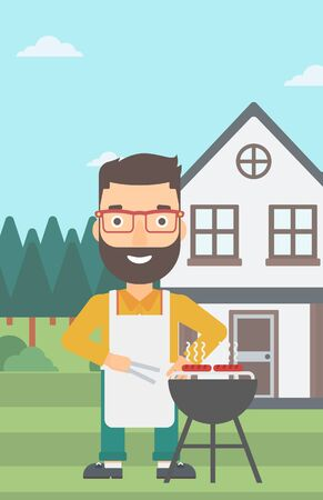 front yard: A hipster man with the beard preparing barbecue in the yard in front of house vector flat design illustration. Vertical layout.