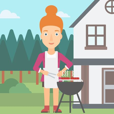 front yard: A woman preparing barbecue in the yard in front of house vector flat design illustration. Square layout. Illustration
