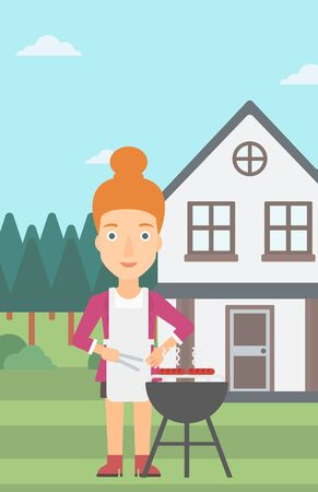 front yard: A woman preparing barbecue in the yard in front of house vector flat design illustration. Vertical layout.