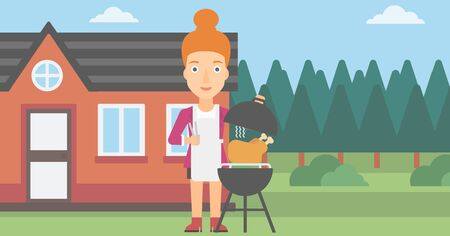 prepare: A woman cooking chicken on barbecue in the yard in front of house vector flat design illustration. Horizontal layout.