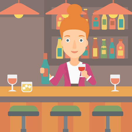 bar counter: Bartender standing at the bar counter and holding a bottle and a glass in hands vector flat design illustration. Square layout.