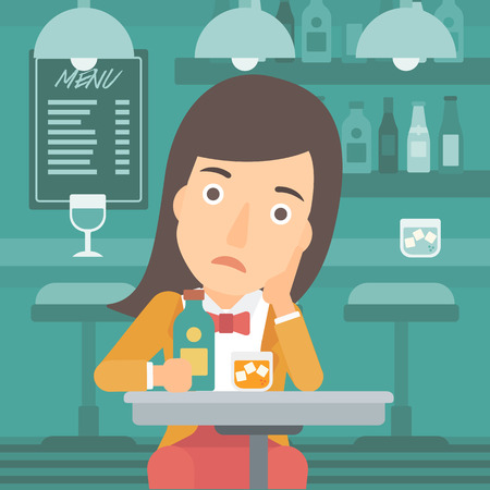 A sad woman sitting at the table with a bottle and a glass at the bar vector flat design illustration. Square layout.