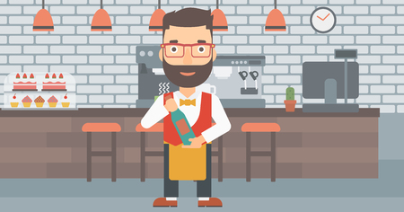 A hipster waiter with the beard holding a bottle in hands on the background of a cafe vector flat design illustration. Horizontal layout.