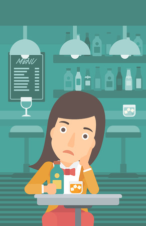 A sad woman sitting at the table with a bottle and a glass at the bar vector flat design illustration. Vertical layout.