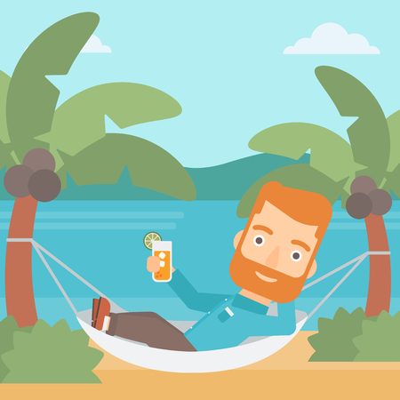 A hipster man with the beard chilling in hammock on the beach with a cocktail in a hand vector flat design illustration. Square layout.