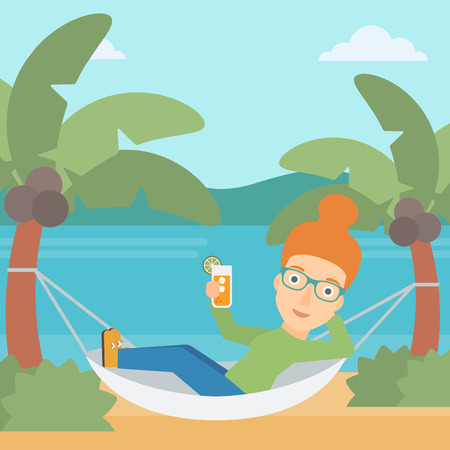 chilling: A woman chilling in hammock on the beach with a cocktail in a hand vector flat design illustration. Square layout. Illustration