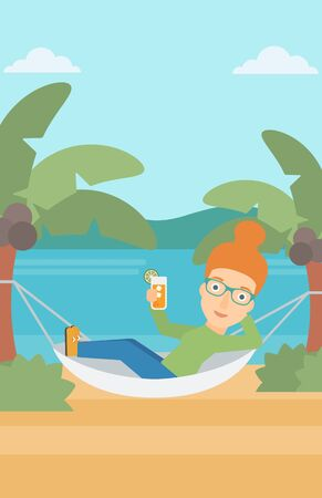 chilling: A woman chilling in hammock on the beach with a cocktail in a hand vector flat design illustration. Vertical layout. Illustration