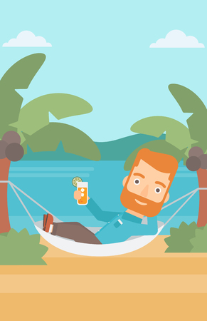chilling: A hipster man with the beard chilling in hammock on the beach with a cocktail in a hand vector flat design illustration. Vertical layout.
