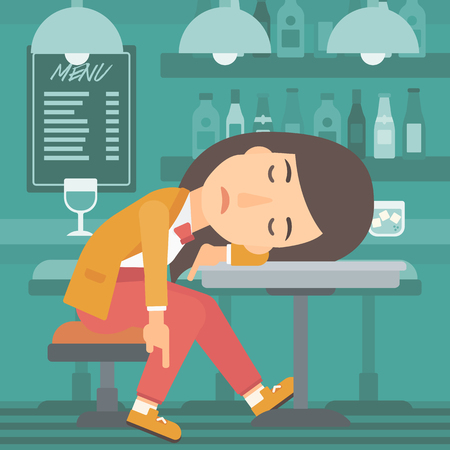 A woman sleeping at the bar at the table vector flat design illustration. Square layout.