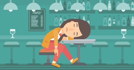 A woman sleeping at the bar at the table vector flat design illustration. Horizontal layout.