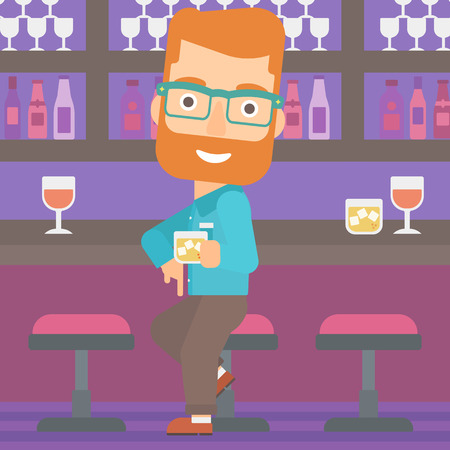 bar counter: A hipster man with the beard sitting near the bar counter and holding a glass vector flat design illustration. Square layout.