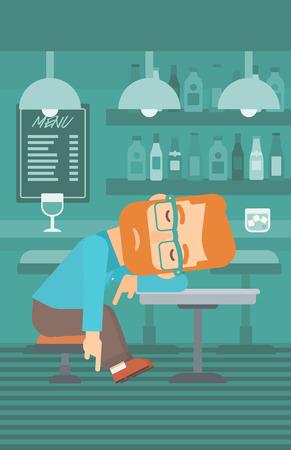 A man sleeping at the bar at the table vector flat design illustration. Vertical layout. Illustration