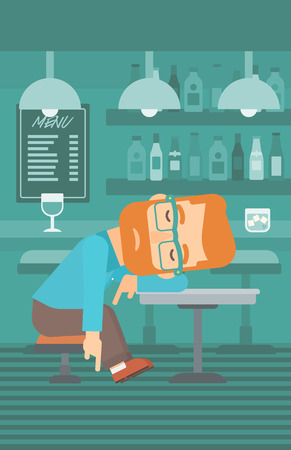 A man sleeping at the bar at the table vector flat design illustration. Vertical layout. Vettoriali