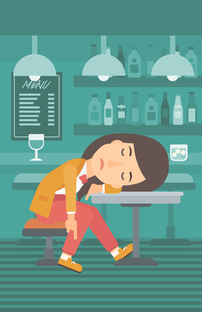 vertical bar: A woman sleeping at the bar at the table vector flat design illustration. Vertical layout.