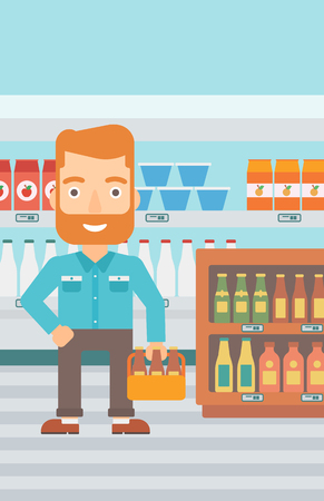 man carrying box: A hipster man with the beard standing in the supermarket and holding a pack of beer vector flat design illustration. Vertical layout. Illustration