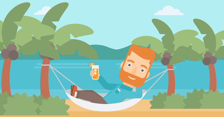 chilling: A hipster man with the beard chilling in hammock on the beach with a cocktail in a hand vector flat design illustration. Horizontal layout.