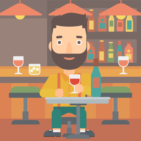 A hipster man with the beard sitting at the bar and drinking wine vector flat design illustration. Square layout. Illustration
