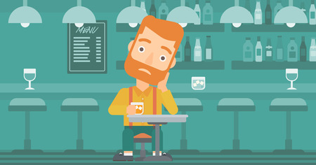 sorrowful: A sad hipster man with the beard sitting at the bar with a glass vector flat design illustration. Horizontal layout.