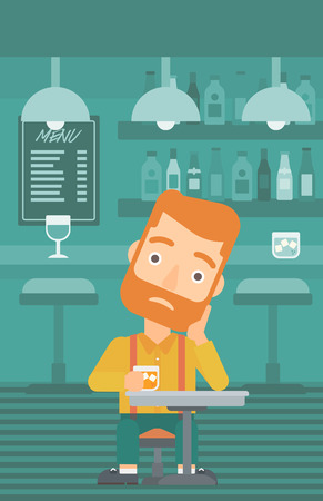sorrowful: A sad hipster man with the beard sitting at the bar with a glass vector flat design illustration. Vertical layout.