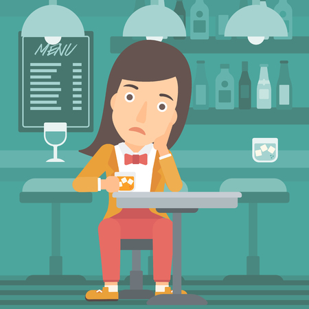 sorrowful: A sad woman sitting at the bar with a glass vector flat design illustration. Square layout.