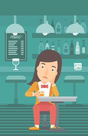 vertical bar: A sad woman sitting at the bar with a glass vector flat design illustration. Vertical layout.