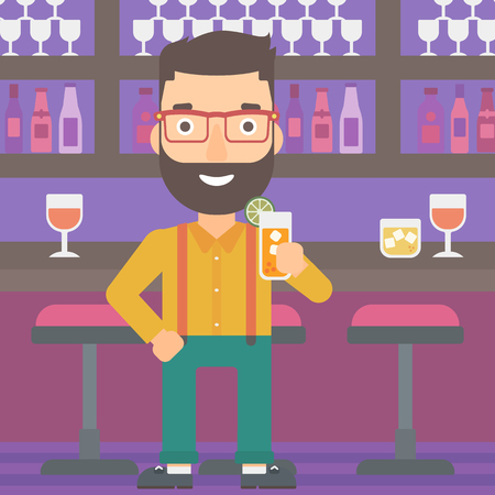 A hipster man with the beard standing at the bar and holding a glass of juice vector flat design illustration. Square layout. Çizim