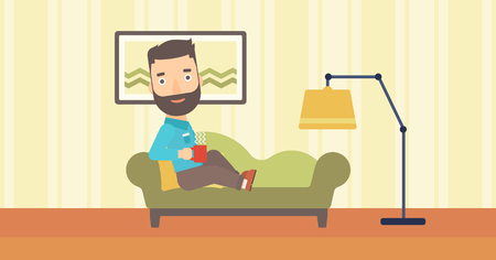 A hipster man with the beard lying on sofa in living room and holding a cup of hot flavored tea vector flat design illustration. Horizontal layout. Illustration