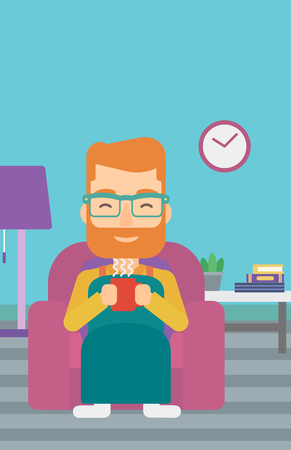flavored: A hipster man with the beard wrapped into a plaid sitting in chair in living room and holding a cup of hot flavored tea vector flat design illustration. Vertical layout.