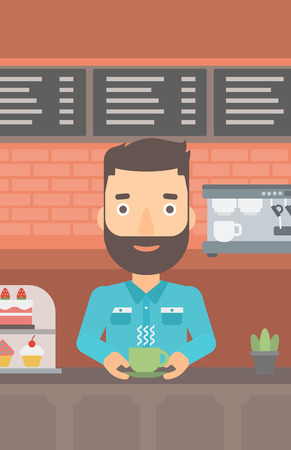 A hipster man with the beard standing at the counter with cup of coffee on the background of bakery with pastry and coffee maker vector flat design illustration. Vertical layout. Illustration